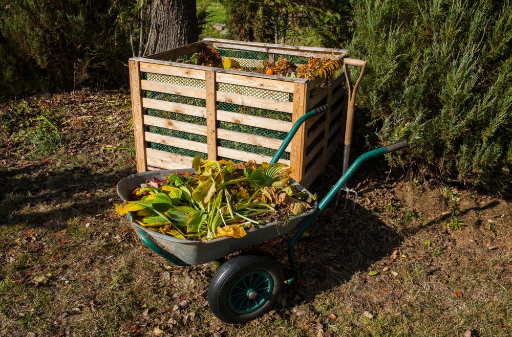 Bac à compost et brouette