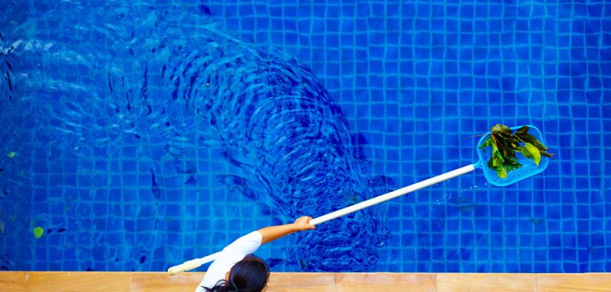 Femme ramassant les feuilles dans une piscine à l'aide d'un manche et d'une épuisette, vue du dessus