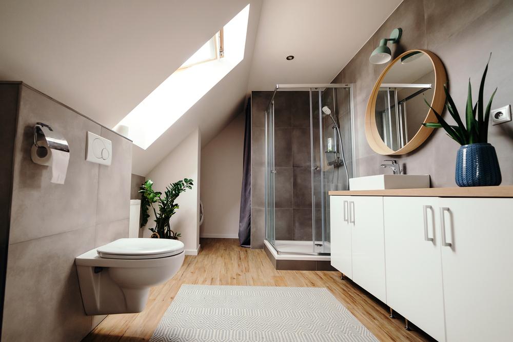 Salle de bain avec murs blancs et gris coloré